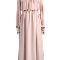 Apricot Long Sleeve Bead Pleated Chiffon Dress - Sheinside.com