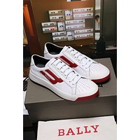 Bally The New Competition Men's Deer Leather Trainer In White Red Sneakers Shoes