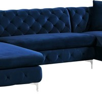Gail Navy Velvet 3pc. Sectional