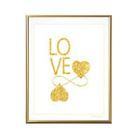 Gold Love art print, infinity, heart, printable, valentines, instant download file, gift, wall art, wall decor, home decor