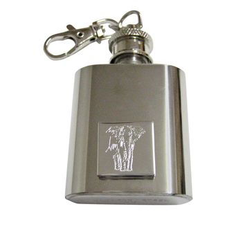 Silver Toned Etched Detailed Elephant 1 Oz. Stainless Steel Key Chain Flask