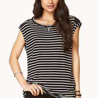 Striped Faux Leather-Trimmed Top