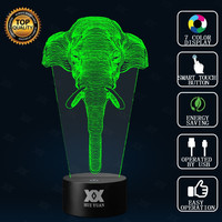 SHIP FROM U.S Elephant 3D Lamp Night Light Multi 7 Color Change USB Smart Touch Button LED Desk Table Night Light Kiddie Gift