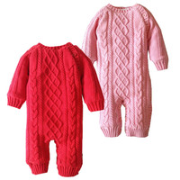 Newborn Crochet Outfits Baby Boy Girl Fleece Romper Toddler Solid Color Knit Romper Baby Christmas Warm Thicken Winter Jumpsuit