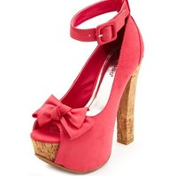 Bow-Front Nubuck Cork Pump: Charlotte Russe
