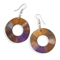 Orange and Purple Wavy Wood Fashion Earrings