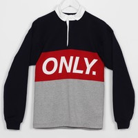 Only NY Logo Rugby, Navy / Red / Heather Grey