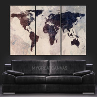 World Map Canvas Print - Contemporary 3 Panel Triptych Vintage Map on Iron Background Large Wall Art