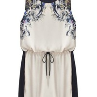 Sheinside Beige Sleeveless Drawstring Floral Sundress