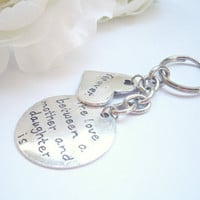 Mother Daughter Keychain - Silver Keychains - Quote Keyring - Gift for Mum - Metallic Keyrings - Mother of the bride - Mom Gifts