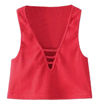 Red Plunge Neck Ribbed Crop Top