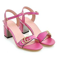 GUCCI Fashion Women Princess Metal Double G Letter High Heels Summer Sandals Rose Red