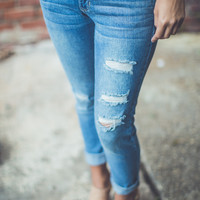 Blue Jean Baby Jeans in Light Destroyed Denim