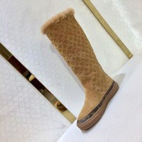 "LV Louis Vuitton Brown ""Monogram Empriente"" Fashion Women knight Snow boots heels shoes winter"