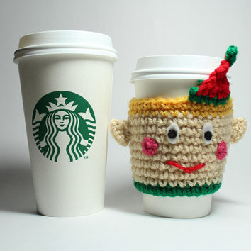 Elf coffee cozy, Holiday coffee sleeve, handmade crochet cup sleeve, Christmas can cozy