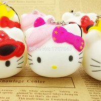 5CM Kawaii Squishy Hello Kitty Doll Color Bow Cat KT Phone Straps Kids Gift Toys 1PCS