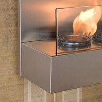 SEI Satin Stainless and Glass Wall Mount Fireplace