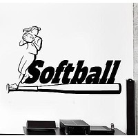 Wall Sticker Sport Softball Girl Woman Fitness Athlete Vinyl Decal Unique Gift (z2998)