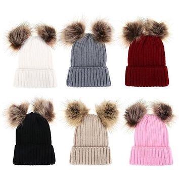 Knitted Hats Beanies Mom Women Baby Hat Parent-offspring Caps Winter Caps Warm Knit Cap Hats For Girls