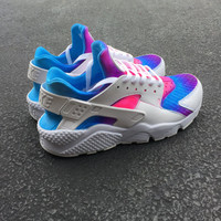 Custom Nike Huarache Run Pink Purple Blue Fade
