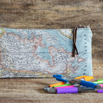 Map pencil case, Canada map case, Map pouch, School pencil case, Gadget pouch, Make Up bag, Cosmetic case, Small pouch, Globe pouch