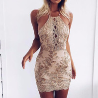 Anika Gold Cut-Front Party Dress