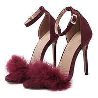Furry Ankle Strap High Heel Sandals 3 Colors