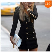 Women Sexy Slim Fit Button Erotic One Piece Dress _ 12594