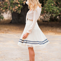 Coco Striped Lace Midi Skirt