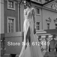 2014 New Arrival V neck Lace Side Split Backless Floor Length Long Sleeve Sequins White Prom Dress-in Prom Dresses from Weddings & Events on Aliexpress.com | Alibaba Group