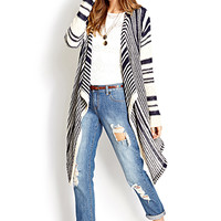 FOREVER 21 Easy Striped Cardigan Navy/Cream One