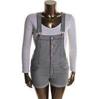 Tinseltown Womens Juniors Denim Cuffed Shortalls