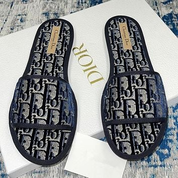 Dior J'ADIOR new trend CD embroidered slippers men and women casual home slippers Shoes