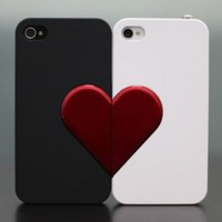 Lover Gift/iphone4/4s -Lover Couple Case with Heart Black and white -For 2pcs