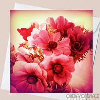 Pink Velvet Flowers - Valentines Day - 5x5 Square Eco Flat Card or Folded Note Card - Fine Art Photography