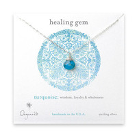 healing gem briolette turquoise necklace, sterling silver