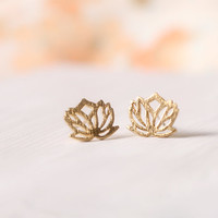 Cute and tiny Lotus Flower earrings. Choose your color. Gold or Silver. DoubleBJewelry. DoubleB. Double B.