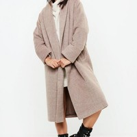 Missguided - Beige Shawl Collar Midi Coat
