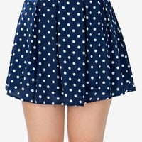 Dotty Pleated Flare Skirt