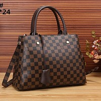 LV Bag Louis Vuitton Print Shoulder Bag Handbag Crossbory Shopping Bag Coffee tartan