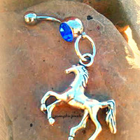 Horse County Western Belly Button Ring,Equestrian Cowgirl,Horse Navel Piercing,Fun,Country Girls,Rodeo Jewelry,Direct Checkout,Ready to Ship
