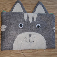 grey funny cat Zip Purse, Makeup Bag, Coin Purse, Small Accessory Pouch ,FREE SHİPPİNG