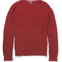 PRODUCT - Gant Rugger - Cable-Knit Cotton-Blend Sweater - 391344 | MR PORTER