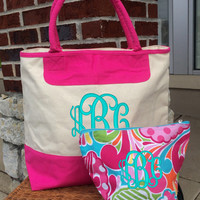 """Monogrammed """"Pink Punch"""" Print Canvas Zippered Cosmetic Makeup Bag Font shown INTERLOCKING in light pool"""