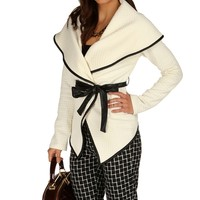 Ivory Quilted Wrap Front Jacket