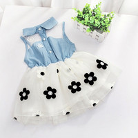 Sweet Baby Toddler Girls Mesh Joint Sleeveless Bandage Skirt Kids Children Garments Princess Cowboy Flowers One-piece Dress Wedding Party Fashion Tutu Outfits#C0800 = 1958040260