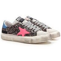 Golden Goose May Glitter Calf Leather Rubber Sole Round Toe Ladies Sneakers G35WS127.M2