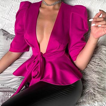 2020 New Women's Lace Up V-neck Ruffled Fashion Slim Knit Jacket