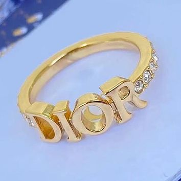 Christian Dior retro CD letter brass ring fashion opening adjustable ring