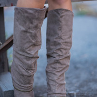 Living On the Wedge Zipper Detailed Wedged Boots (Taupe)